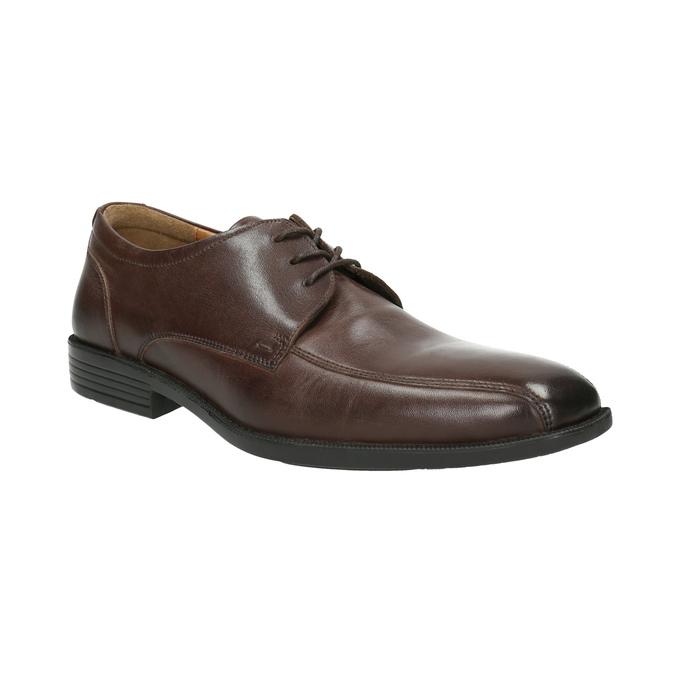 Skórzane półbuty męskie zprzeszyciem na nosku bata, brązowy, 824-4815 - 13