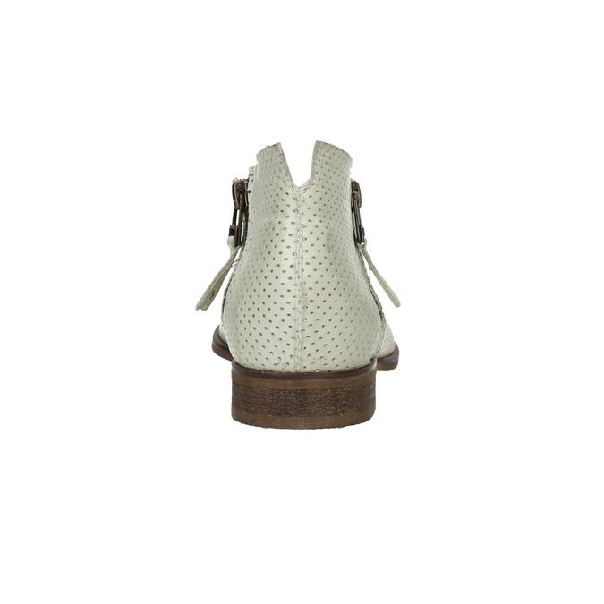 Skórzane botki zperforacją bata, biały, 596-1647 - 17