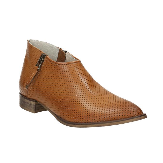 Skórzane botki zperforacją bata, brązowy, 596-4647 - 13