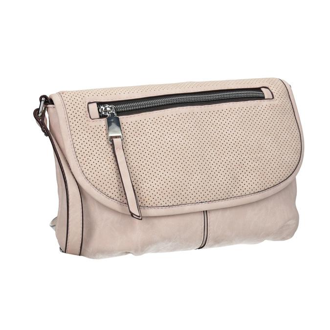 Różowa torebka typu crossbody zperforowaną klapą bata, różowy, 961-5709 - 13