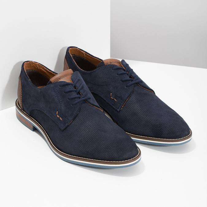Skórzane półbuty zpodeszwą wpaski bata, niebieski, 823-9600 - 26