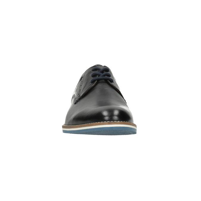 Skórzane półbuty zpodeszwą wpaski bata, czarny, 826-6790 - 18