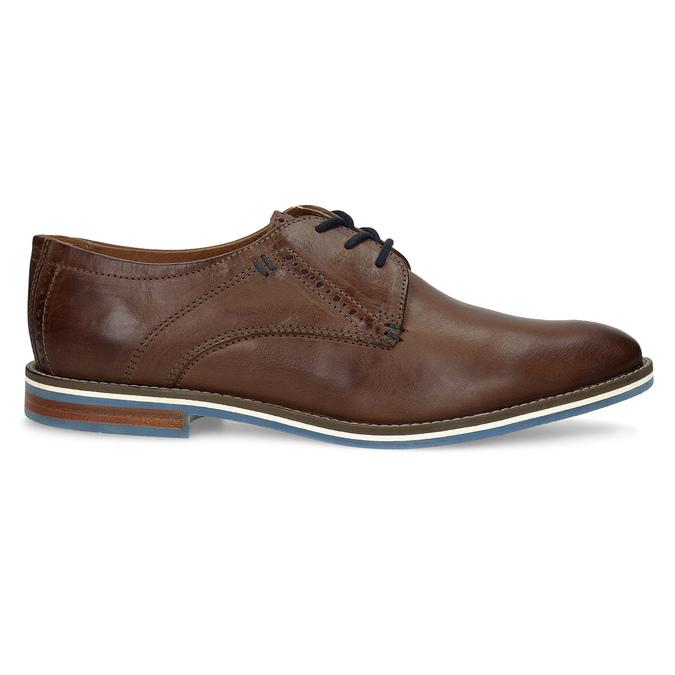 Brązowe półbuty ze skóry, zpodeszwą wpaski bata, brązowy, 826-4790 - 19