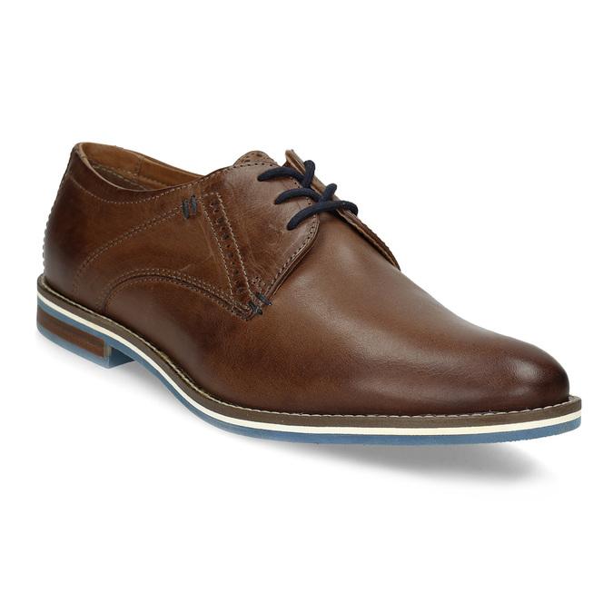 Brązowe półbuty ze skóry, zpodeszwą wpaski bata, brązowy, 826-4790 - 13