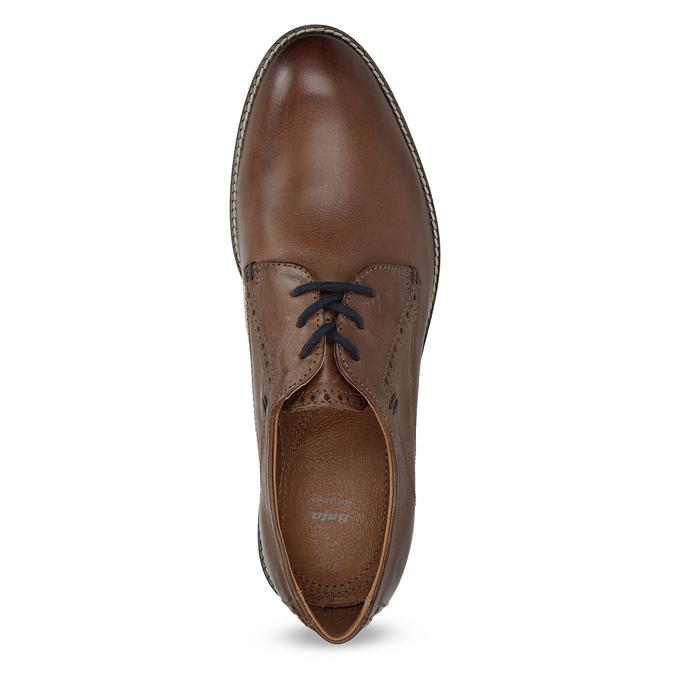 Brązowe półbuty ze skóry, zpodeszwą wpaski bata, brązowy, 826-4790 - 17