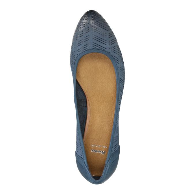 Perforowane czółenka na platformie bata, niebieski, 626-9638 - 19
