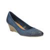Perforowane czółenka na platformie bata, niebieski, 626-9638 - 13