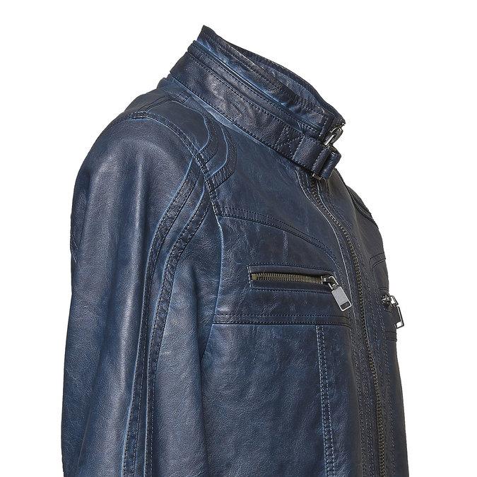 Kurtka męska ze skóry ekologicznej bata, niebieski, 971-9194 - 16