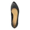 Skórzane czółenka na koturnie bata, czarny, 626-6638 - 19