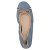 Skórzane niebieskie baleriny zelastyczną lamówką bata, niebieski, 526-9617 - 19