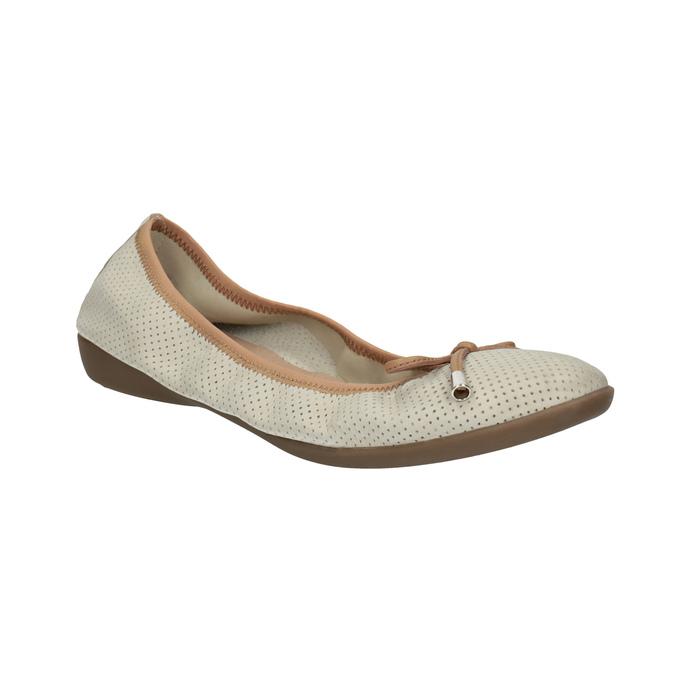 Skórzane baleriny zelastyczną lamówką bata, beżowy, 526-8617 - 13
