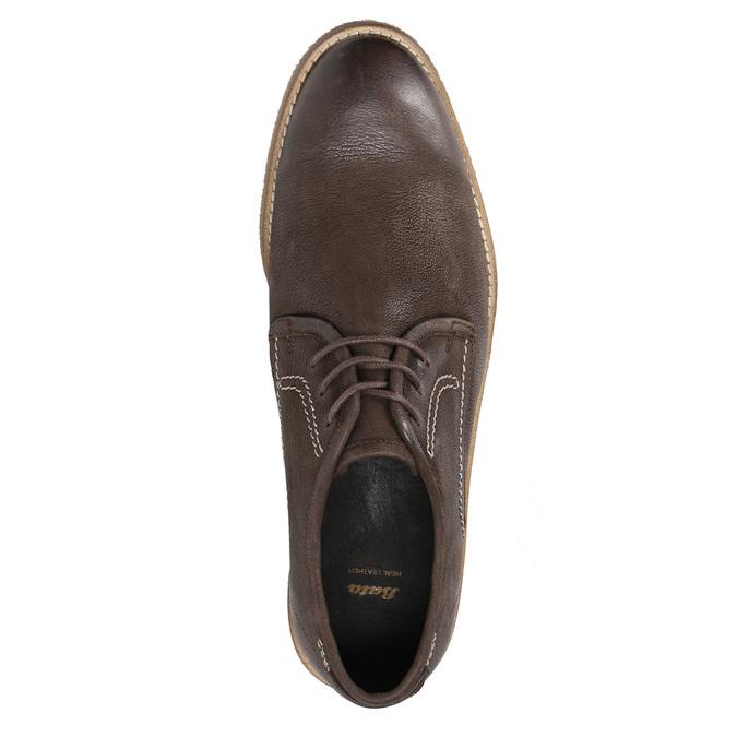Brązowe półbuty ze skóry, zkontrastowymi przeszyciami bata, brązowy, 826-4815 - 19