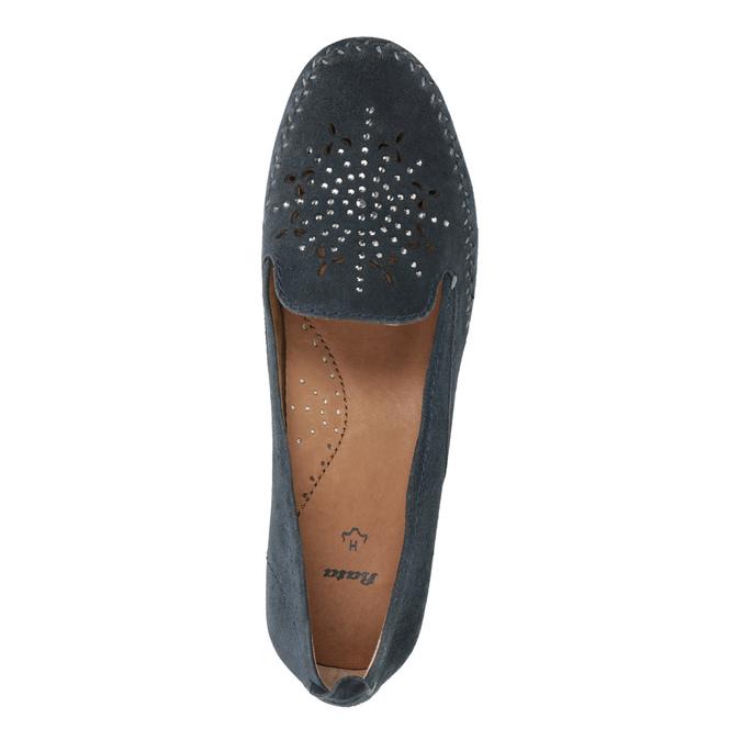 Skórzane mokasyny damskie oszerokościH bata, niebieski, 523-9603 - 19