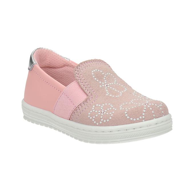 Dziecięce skórzane buty Slip-on bubblegummer, różowy, 123-5600 - 13