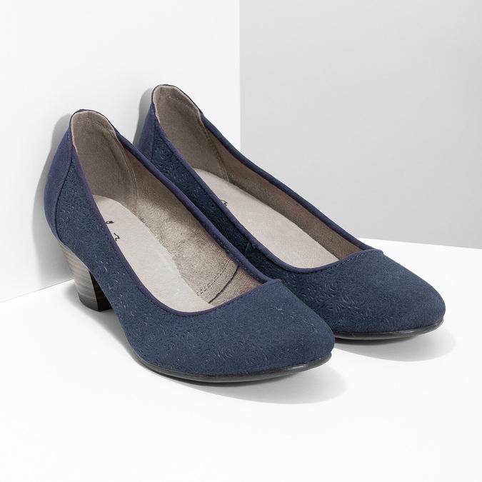 Skórzane czółenka oszerokościH bata, niebieski, 623-9602 - 26