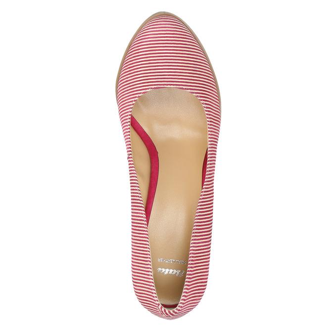 Skórzane czółenka wpaski bata, różowy, 726-5633 - 19