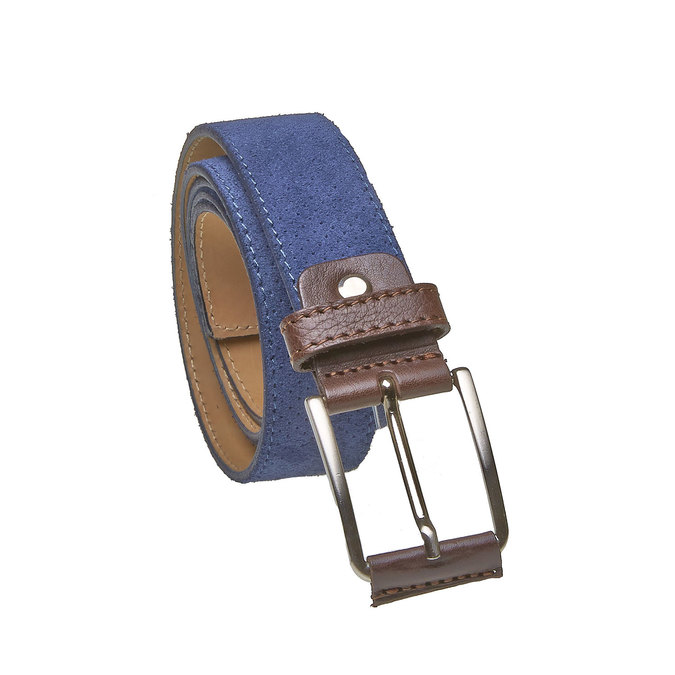 Męski skórzany pasek z perforacją bata, niebieski, 953-9325 - 13