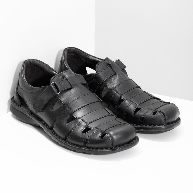 Czarne skórzane sandały męskie bata, czarny, 864-6600 - 26