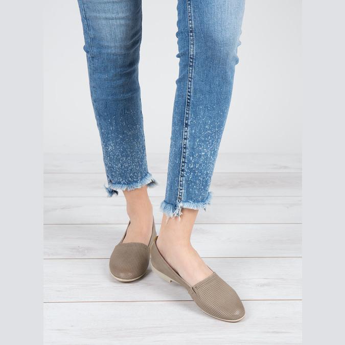 Damskie skórzane buty Slip On bata, brązowy, 516-2602 - 18