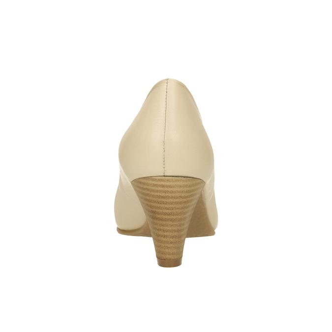 Skórzane czółenka na rozszerzanym słupku bata, beżowy, 624-1600 - 17