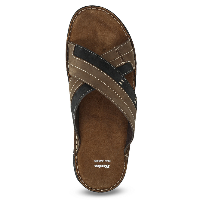 Letnie skórzane klapki męskie bata, brązowy, 866-4612 - 17