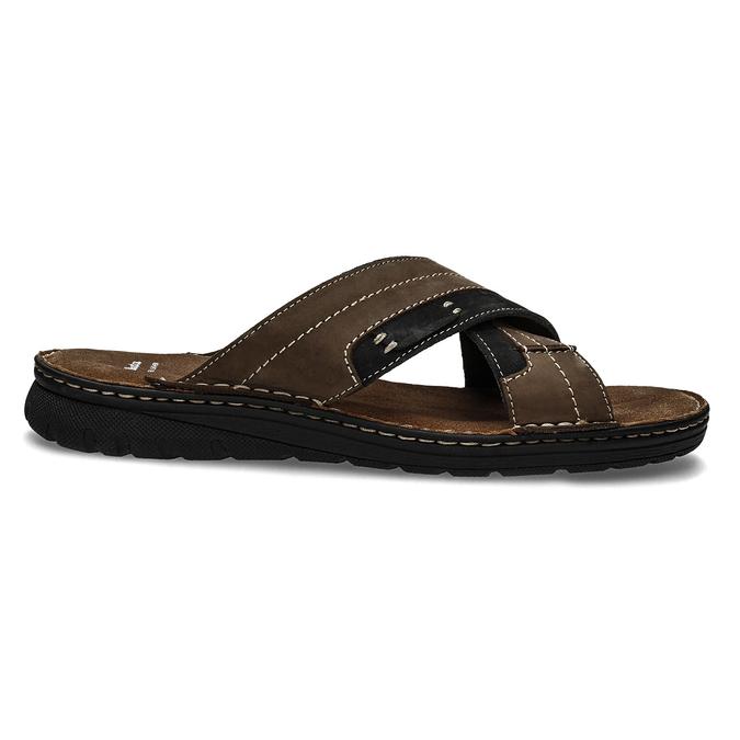 Letnie skórzane klapki męskie bata, brązowy, 866-4612 - 19