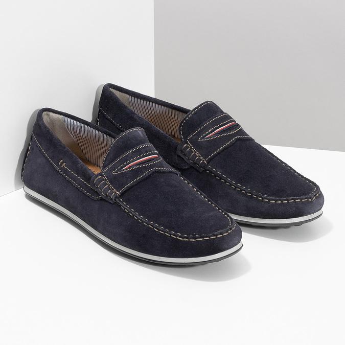 Zamszowe mokasyny bata, niebieski, 853-9614 - 26