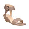 Skórzane sandały na koturnach bata, brązowy, 666-4607 - 13