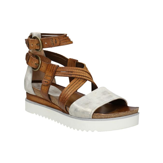 Skórzane sandały na platformie bata, brązowy, 666-1605 - 13