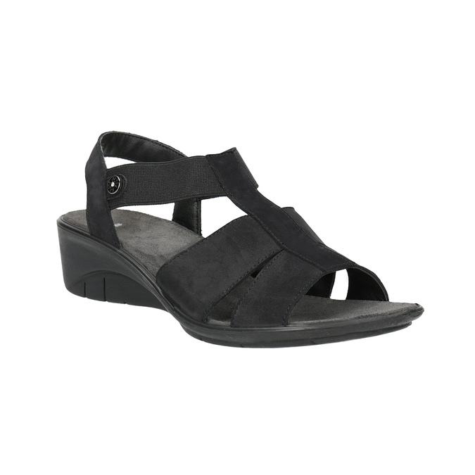 Skórzane sandały na koturnach bata, czarny, 666-6609 - 13