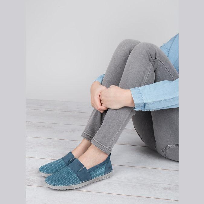 Niebieskie slip-on ze skóry weinbrenner, niebieski, 513-9263 - 18