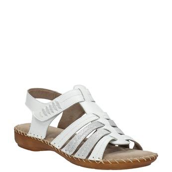 Skórzane sandały oszerokościH bata, biały, 566-1604 - 13