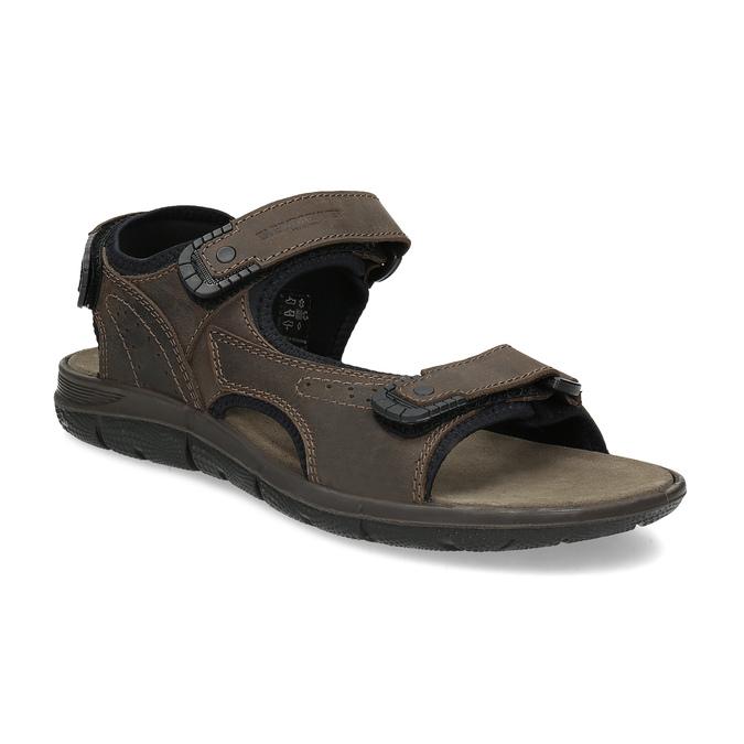 Brązowe skórzane sandały męskie na rzepy weinbrenner, 866-4631 - 13