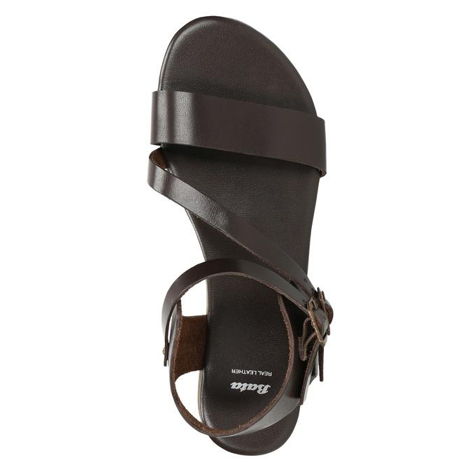 Brązowe sandały ze skóry bata, brązowy, 566-4613 - 19