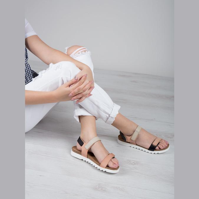 Skórzane sandały damskie na rzepy weinbrenner, różowy, 566-3630 - 18