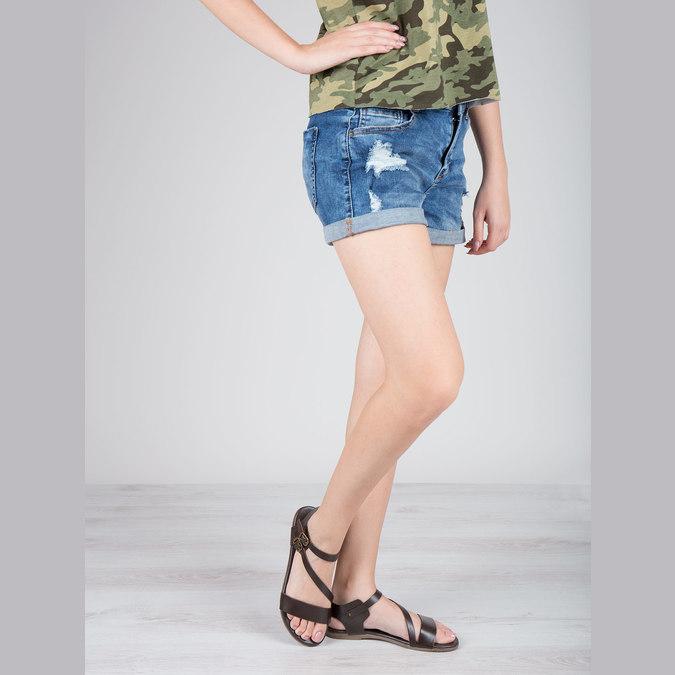 Brązowe sandały ze skóry bata, brązowy, 566-4613 - 18
