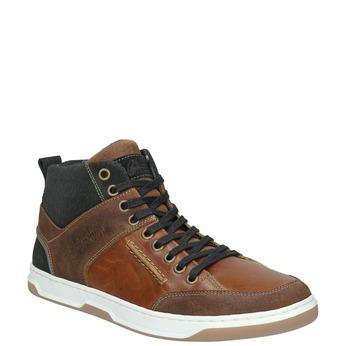 Skórzane trampki za kostkę bata, brązowy, 846-3640 - 13