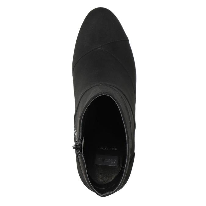 Skórzane botki damskie zprzeszyciami bata, czarny, 799-6615 - 26