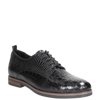 Skórzane półbuty damskie zfakturą bata, czarny, 526-6637 - 13