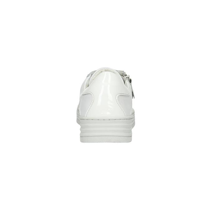 Skórzane trampki damskie zzamkami błyskawicznymi bata, biały, 526-2630 - 17