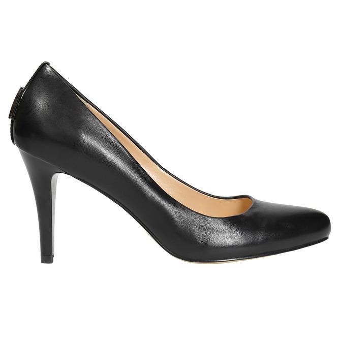 Skórzane czółenka damskie bata, czarny, 724-6649 - 15