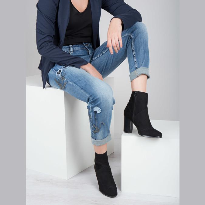 Skórzane botki damskie zprzeszyciami bata, czarny, 799-6615 - 18