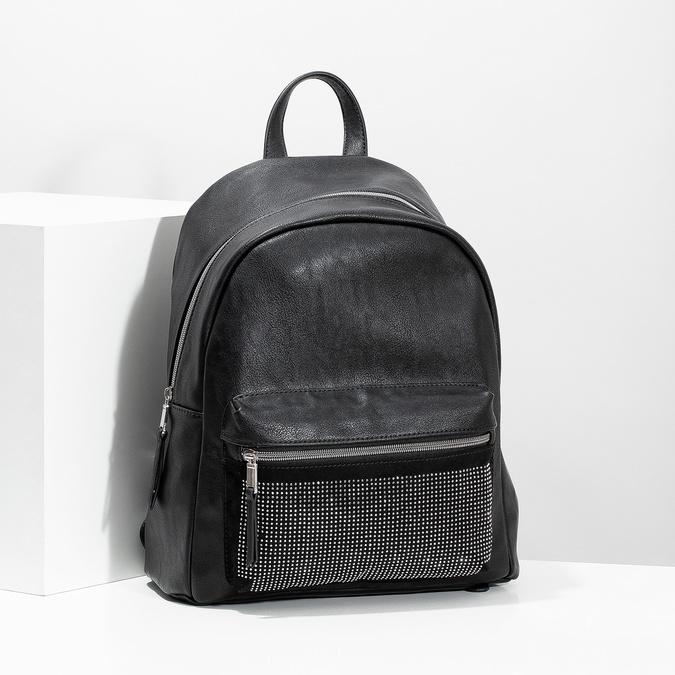 Czarny plecak damski zkryształkami bata, czarny, 961-6855 - 17