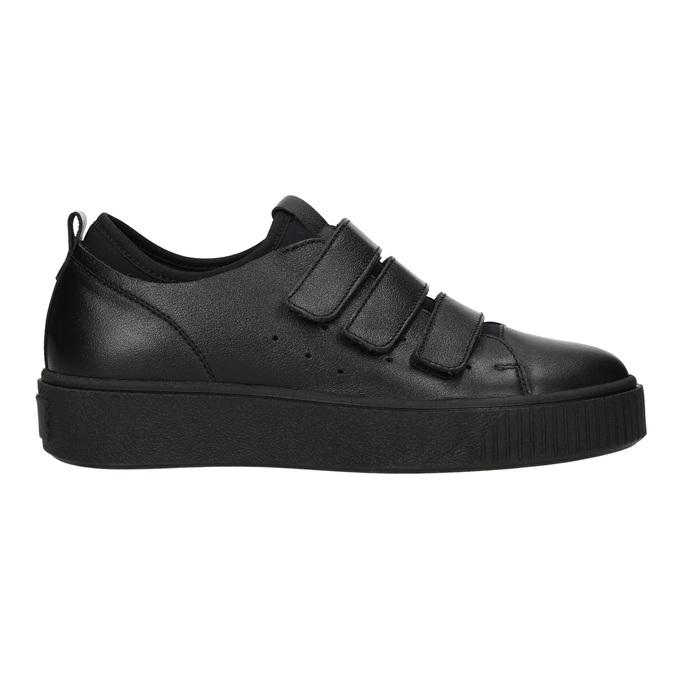 Czarne skórzane trampki na rzepy bata, czarny, 526-6646 - 26