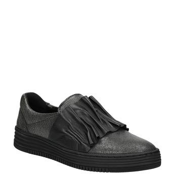 Skórzane slip-on damskie bata, czarny, 516-6614 - 13