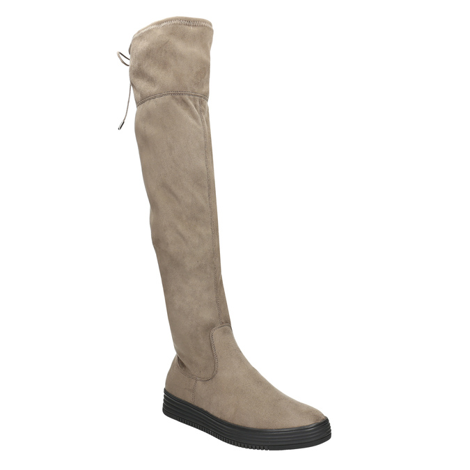 Brązowe kozaki damskie za kolana bata, brązowy, 699-3634 - 13