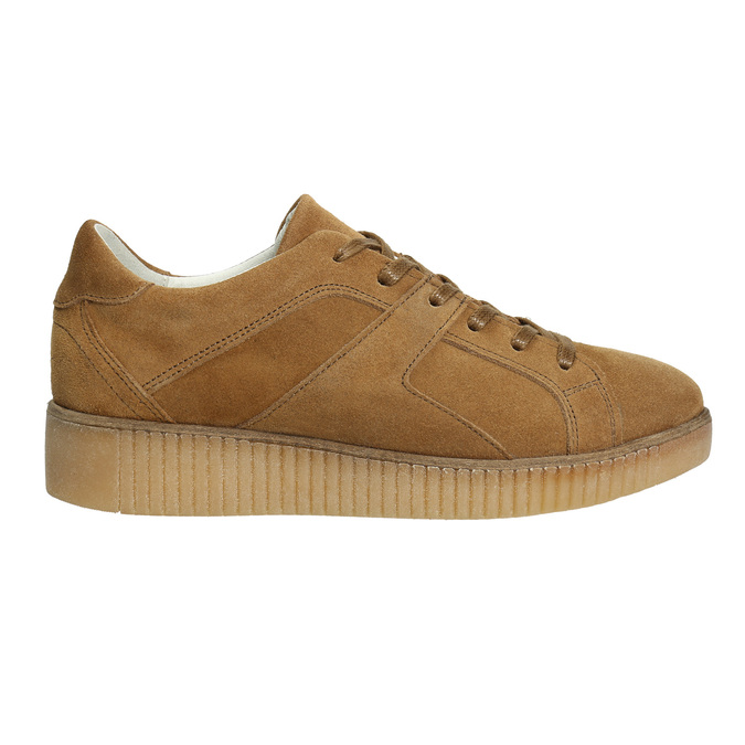 Brązowe trampki ze skóry bata, brązowy, 523-8604 - 15