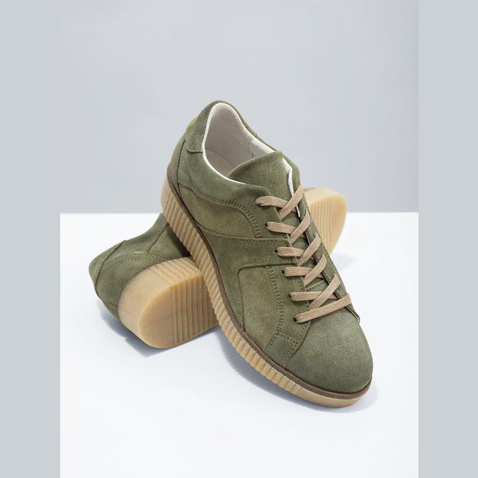 Skórzane trampki damskie wkolorze khaki bata, zielony, 523-7604 - 19
