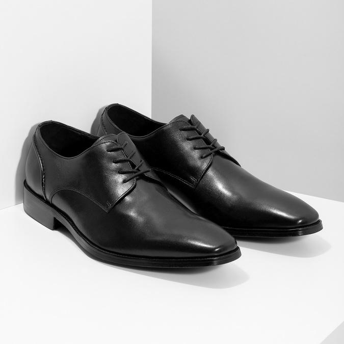 Czarne skórzane półbuty typu angielki bata, czarny, 824-6405 - 26
