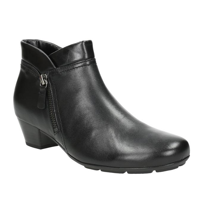 Skórzane buty za kostkę, zzamkami błyskawicznymi gabor, czarny, 614-6122 - 13